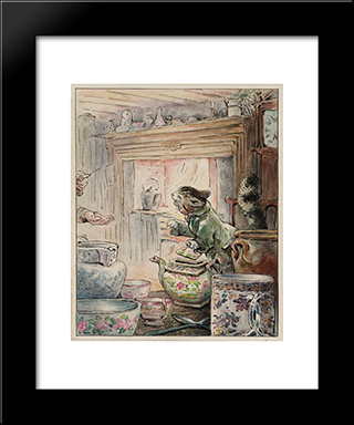 Where Is My Twist?: Modern Black Framed Art Print by Beatrix Potter