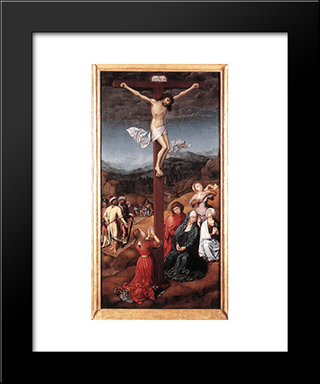 Crucifixion: Modern Black Framed Art Print by Jan Provoost