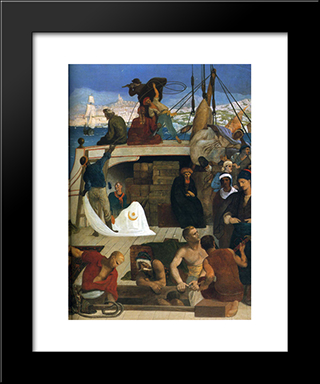 Marseilles, Gate To The Orient (Detail): Modern Black Framed Art Print by Pierre Puvis de Chavannes