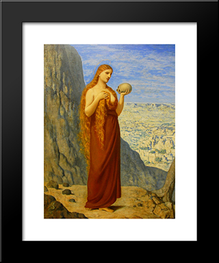 Mary Magdalene In The Desert: Modern Black Framed Art Print by Pierre Puvis de Chavannes