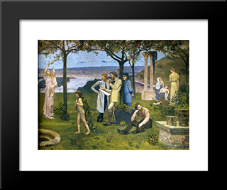 Between Art And Nature (Detail): Modern Black Framed Art Print by Pierre Puvis de Chavannes