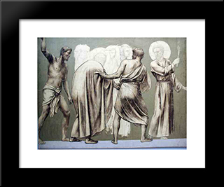 Fresco For The Decoration Of The Pantheon: Saints: Modern Black Framed Art Print by Pierre Puvis de Chavannes