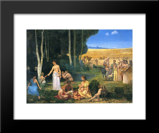 Summer: Modern Black Framed Art Print by Pierre Puvis de Chavannes