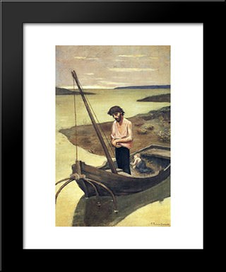 The Poor Fisherman: Modern Black Framed Art Print by Pierre Puvis de Chavannes