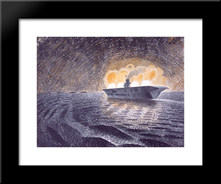 Hms Ark Royal In Action: Modern Black Framed Art Print by Eric Ravilious