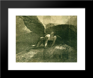 Fallen Angel: Modern Black Framed Art Print by Odilon Redon