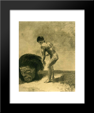 David And Goliath: Modern Black Framed Art Print by Odilon Redon