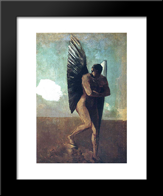 Fallen Angel Looking At At Cloud: Modern Black Framed Art Print by Odilon Redon