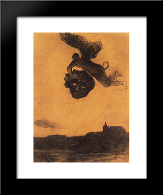 Devil Take A Head In The Air: Modern Black Framed Art Print by Odilon Redon