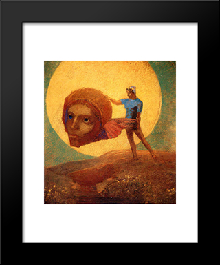 Figure: Modern Black Framed Art Print by Odilon Redon