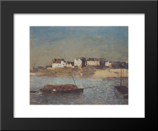 Breton Harbour: Modern Black Framed Art Print by Odilon Redon