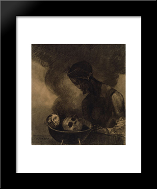 Cauldron Of The Sorceress: Modern Black Framed Art Print by Odilon Redon