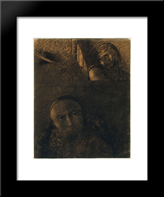 Faust And Mephistopheles: Modern Black Framed Art Print by Odilon Redon