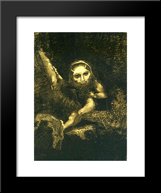 Caliban On A Branch: Modern Black Framed Art Print by Odilon Redon