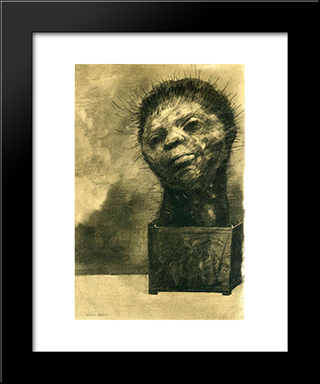 Cactus Man: Modern Black Framed Art Print by Odilon Redon