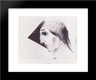 Madness: Modern Black Framed Art Print by Odilon Redon