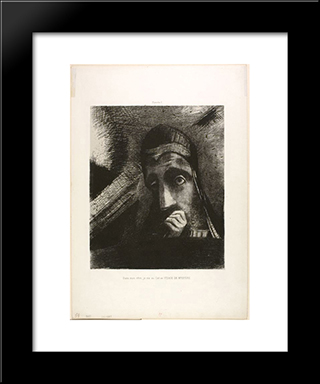 Face Of Mystery: Modern Black Framed Art Print by Odilon Redon