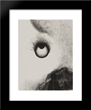 Everywhere Eyeballs Are Aflame: Modern Black Framed Art Print by Odilon Redon