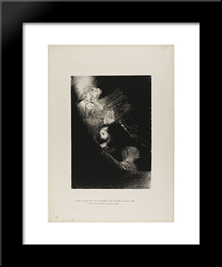First A Pool Of Water, Then A Prostitute, The Corner Of A Temple, A Soldier'S Face, A Chariot With Two Rearing White Horses: Modern Black Framed Art Print by Odilon Redon