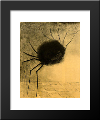 The Smiling Spider: Modern Black Framed Art Print by Odilon Redon