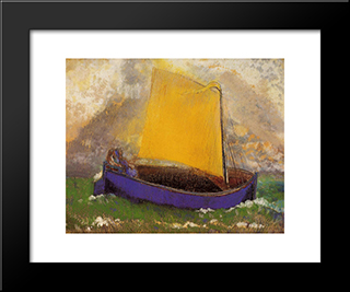 The Mysterious Boat: Modern Black Framed Art Print by Odilon Redon