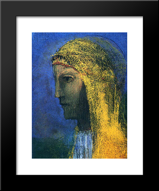 The Druidess: Modern Black Framed Art Print by Odilon Redon