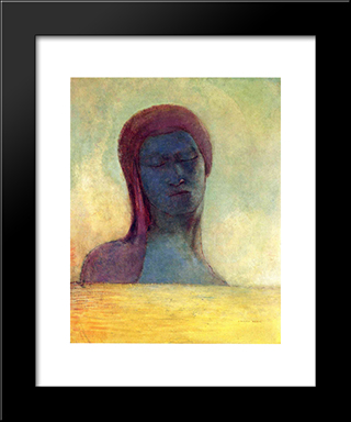 Closed Eyes: Modern Black Framed Art Print by Odilon Redon