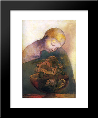 Cup Of Cognition (The Children'S Cup): Modern Black Framed Art Print by Odilon Redon