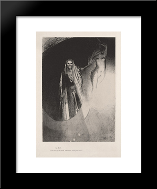 Death: It Is I Who Makes You Serious; Let Us Embrace Each Other (Plate 20): Modern Black Framed Art Print by Odilon Redon