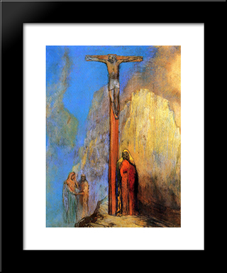 Calvary: Modern Black Framed Art Print by Odilon Redon