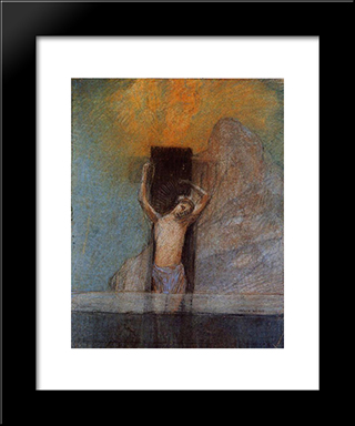 Christ On The Cross: Modern Black Framed Art Print by Odilon Redon