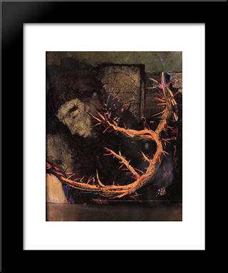 Christ With Red Thorns: Modern Black Framed Art Print by Odilon Redon