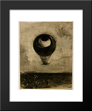 Eye Balloon: Modern Black Framed Art Print by Odilon Redon