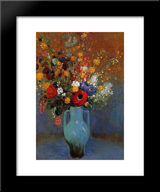 Bouquet Of Wild Flowers: Modern Black Framed Art Print by Odilon Redon