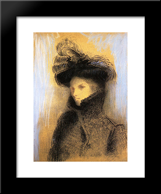 Portrait Of Marie Botkine: Modern Black Framed Art Print by Odilon Redon