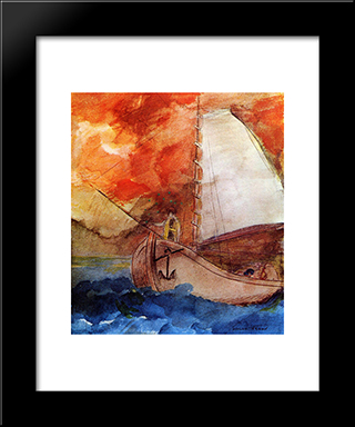 The Boat: Modern Black Framed Art Print by Odilon Redon