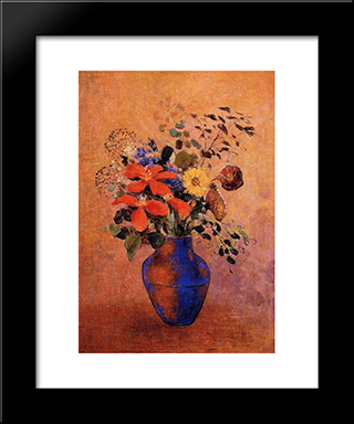 Vase Of Flowers: Modern Black Framed Art Print by Odilon Redon