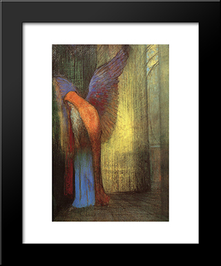 Winged Old Man With A Long White Beard: Modern Black Framed Art Print by Odilon Redon