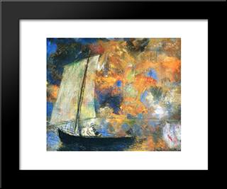 Flower Clouds: Modern Black Framed Art Print by Odilon Redon