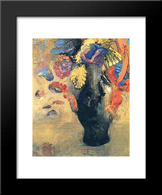 Flowers: Modern Black Framed Art Print by Odilon Redon