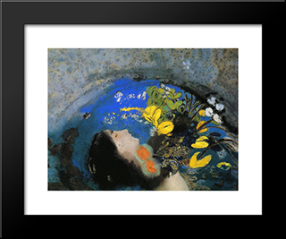 Ophelia: Modern Black Framed Art Print by Odilon Redon