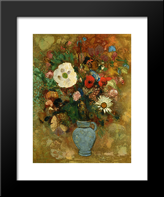 Bouquet Of Flowers: Modern Black Framed Art Print by Odilon Redon