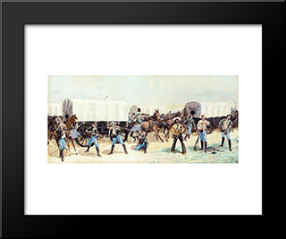 Attack On The Supply Train: Modern Black Framed Art Print by Frederic Remington