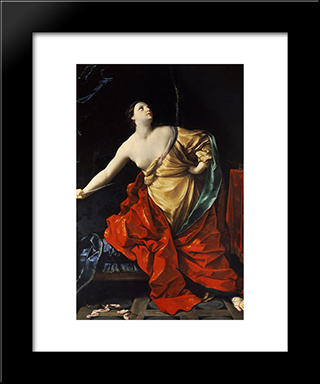 Lucretia: Modern Black Framed Art Print by Guido Reni