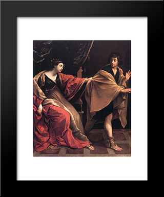 Joseph And Potiphar'S Wife: Modern Black Framed Art Print by Guido Reni