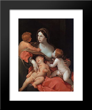 Charity: Modern Black Framed Art Print by Guido Reni