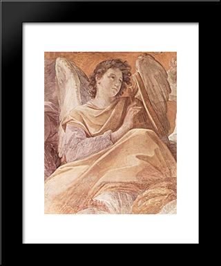 The Queen Of Heaven And Angels Pla (Frescoes In The Palazzo Quirinale, Cappella Dell'Annunciata, Vault Fresco Scene): Modern Black Framed Art Print by Guido Reni
