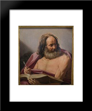 Saint Mark: Modern Black Framed Art Print by Guido Reni