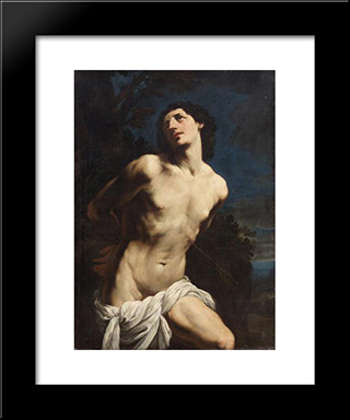 St. Sebastian: Custom Black Wood Framed Art Print by Guido Reni
