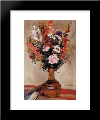 Roses In A Vase: Modern Black Framed Art Print by Pierre Auguste Renoir